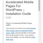 Accelerated Mobile Pages in WordPress – Setup Guide